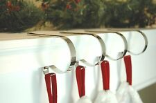 4 Christmas Stocking Holders Mantle Clips Polished Silver Bronze Brass NIB
