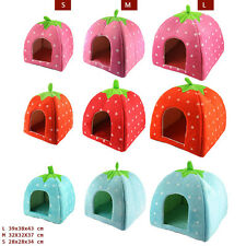 Fit Baby Foldable Sponge Pet Dog Cat House Tent Bed Strawberry Shape Warm Kennel