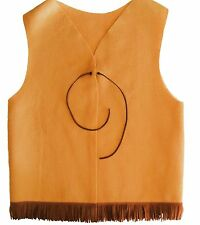 Tan Adventure Y Guide YMCA Indian Princess Tribe Vest Scout Cowboy Fringe