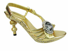 NEW WOMENS LADIES SIZE UK 3-8 GOLD WEDDING EGYPTIAN WIDE HIGH HEEL SANDALS SHOES