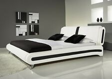 Double or King Size Bed Faux Leather Black White and with Mattress Designer Beds