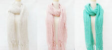 New Women Long Scarf Knitted Warm Soft Winter Wrap Shawl Handmade Trims 3 Colors