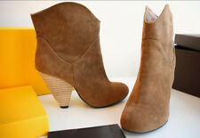 WOmens Vintage Mid Heel Suede Gladiator Ankle Boots Fashion Moccasin Roma Shoes
