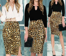 Womens Sexy Celeb Animal Leopard Print Long Midi Pencil Ladies Bodycon Dress 019