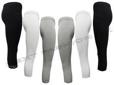 NEW GIRLS WHITE AND BLACK LEGGINGS CROPPED  3/4 LENGHT SIZE S - XL