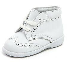Baby Boy White Leather High Top shoes with Laces & Stitch Design: Size 3 to 8