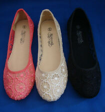 WOMENS FLORAL LACE MESH FLATS(11908)