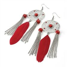 Coloured Disc Feather Chain Drop Burn Silver Tone Earrings - Fashion Jewellery