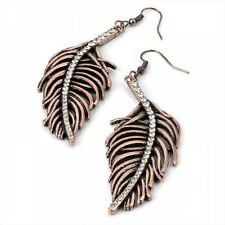 Detailed Feather and Crystal Drop Earrings Burn Gold Tone - Fashion Jewellery