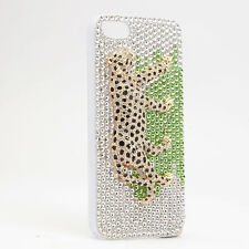 NEOGLORY CRYSTAL/ENAMEL LEOPARD iPHONE 5S CASE SILVER/GOLD PC09