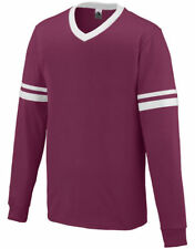 Augusta Sportswear Men's V-Neck Contrast Stripes Long Sleeve Jersey T-Shirt. 372
