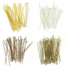 Silver/Gold/Copper/Bronze Plated Flat Head Pin Headpins Findings Craft 15mm