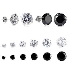 Women Cubic Zirconia Earrings 925 Sterling Silver Round Crystal CZ Studs Jewelry