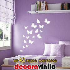 VINILO DECORATIVO PEGATINA PARED KIT 42 ó 82 PIEZAS: MARIPOSAS FLORES BUTTERFLY