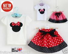 Minnie Mouse Baby's Girls T Shirt +Skirt Suit Set Dress Age 1-5 Years