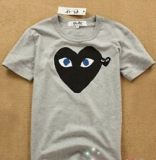 """COMME Des GARCONS CDG (36) """"PLAY RED HEART"""" MEN'S SHORT SLEEVE GRAY T- SHIRT"""