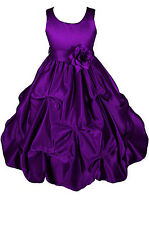 Dressesforgirls Purple Satin Flower Girl Pageant Wedding Party Dress A1403