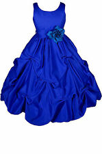 Dressesforgirls Royal Blue Satin Flower Girl Pageant Wedding Party Dress A1403