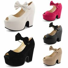 Womens Ladies Mary Jane Peep Toe High Heel Wedge Platform Bow Sandals Shoes Size
