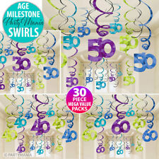 30TH 40TH 50TH 60TH AGE BIRTHDAY PARTY SUPPLIES HANGING SWIRL DECORATIONS 30 PK