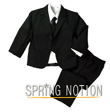 Baby Toddler Boys Formal Black Dress Suit Set, Wedding Ring Bearer Suit