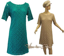 New Vtg 1960s Teal Beige GoGo Mod Twiggy Peter Pan collar Lace Tunic Mini Dress