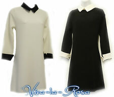 New 1960s GoGo Retro Black White  Mod Peter Pan Collar Twiggy Mini Tunic dress