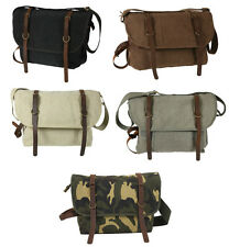 Rothco Vintage Military Canvas Explorer Shoulder Bag With Leather Accents