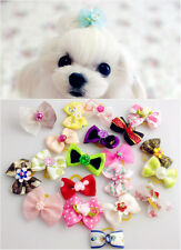 Wholesale Handmade Multicolor Mix Design Dog Flower Hair Bow Groom Rubber Band
