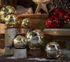 Set of 3 Lit Indoor Outdoor Mercury Glass Spheres w/Timer by Valerie- SEE COLORS