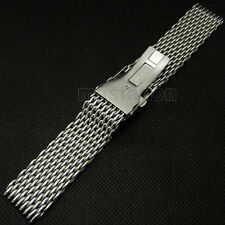 Silver Mesh 18/20/22mm Wrist Watch Band Stainless Steel Buckle Strap Mens C365