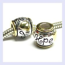 14K Gold Sterling Silver Hope Love Heart Barrel Bead f/ European Charm Bracelet