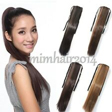 Ponytail Hair Extensions Women Long Ribbon Clip In Straight Hair Piece Pony Tail