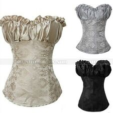 Goth Vintage Overbust Lace Up Sexy Boned Corset Women's Bustier Plus SIZE S-6XL