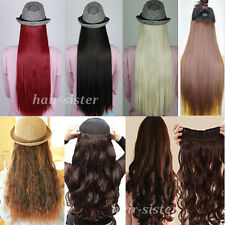 US Ship Clip In Hair Extensions 3/4 Full Head Weft Straight Wavy One Piece hst