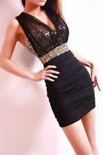 Ladies Sexy Sequin Empire Waist Sleeveless See-through Mesh Party Dress 114BK