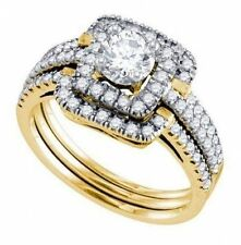 1 CTW Solitaire 2-Square Halo & Pave Band 3-Ring Diamond Bridal Set in 14K Gold