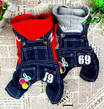 Cherry Sweater Jeans Overalls Jumpsuit for Small Dog Clothes Coat Jacket Pants