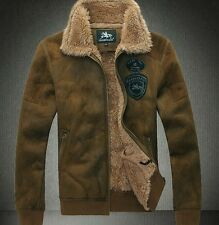 Hot mens warm outdoor fur lining Suede leather jacket coat outwear trench padded