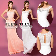 Sexy  Formal Evening Gown Bridesmaid Prom Long Cocktail Party Dresses Pink