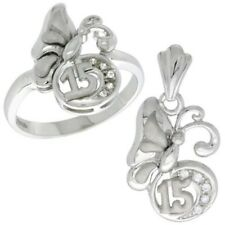 "925 Sterling Silver Quinceanera ""15 Anos"" Butterfly CZ Ring & Charm Pendant Set"