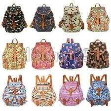 Retro Unisex Swallow Owl Travel Canvas Shoulder School Bag Rucksack Backpack Bag