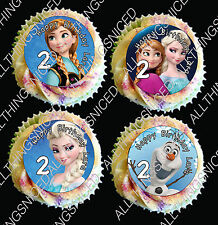 Edible Personalised Birthday Ricepaper Cupcake Toppers Disney Frozen  x 24
