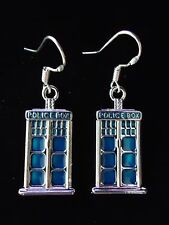 DR WHO TARDIS POLICE BOX EARRINGS.STERLING SILVER 925 HALLMARKED HOOKS. GIFT BOX