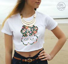 * OKAY OKAY Floral Crop Top The Fault In Our Stars Tumblr Fashion Okay? *