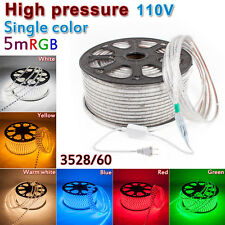 110V 120V High Power Flexible Flat 3528SMD RGB LED Strip Rope Light - Custom Cut