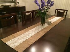 Burlap and Lace Table Runners 14 inches wide Handmade in US Free Shipping