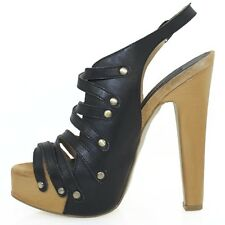 Chinese Laundry Leather Strappy Platform Sandals - Black