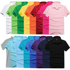 Men Short Sleeve Cotton T-shirt Lapel POLO Tops Concise Solid Tee 16 Colors