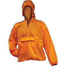 Orange Pull Over Hooded Waterproof Poncho Nylon Rain Jacket Lightweight Coat